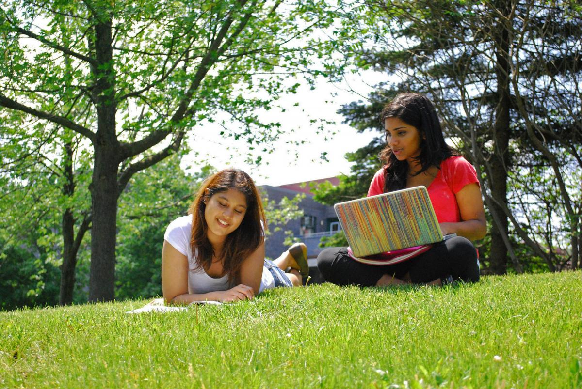 Picture of two students studying outside