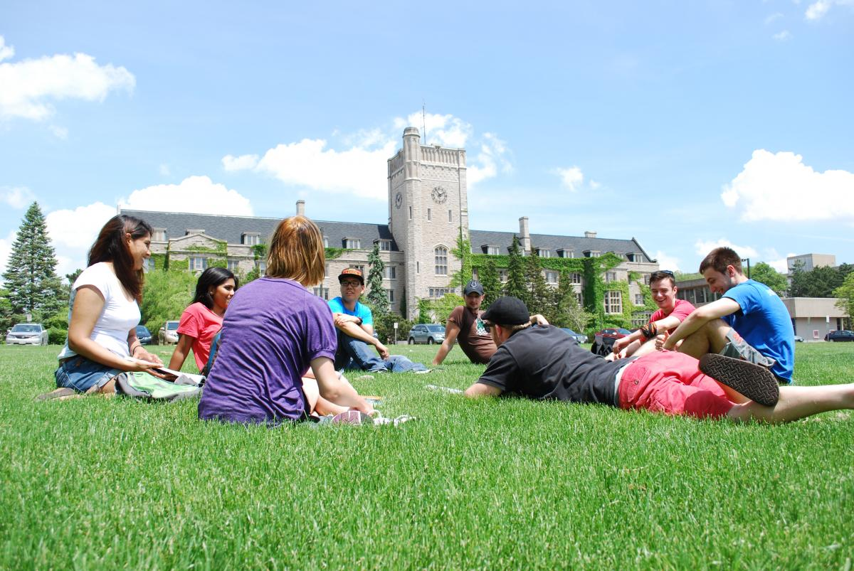 Picture of a group of students studying on Johnston's Green.
