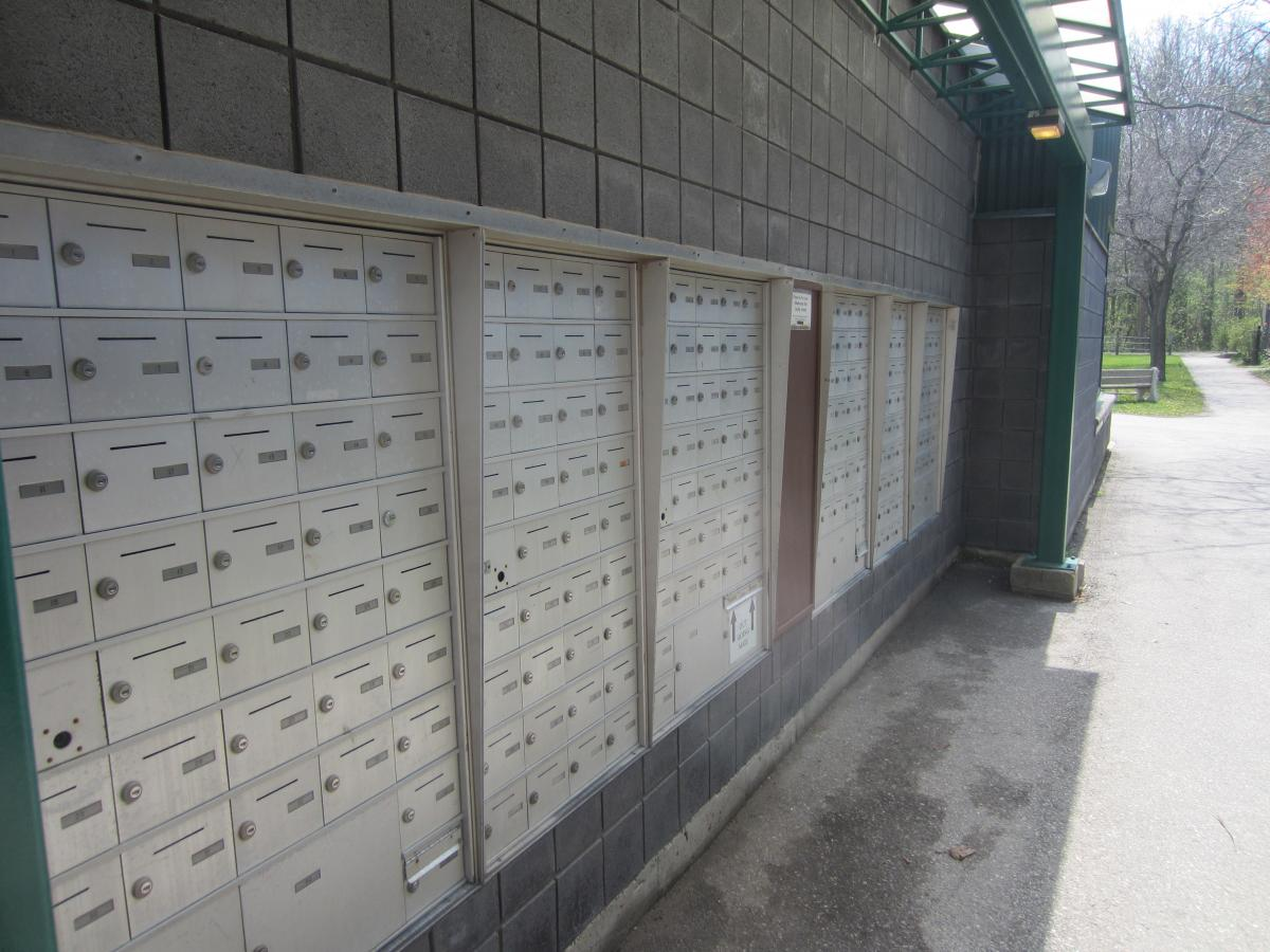 Picture of a row of mail boxes at 78 College Ave.