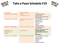 Take a Paws Schedule