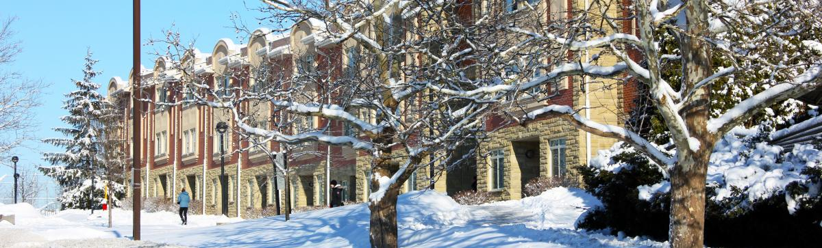 Picture of the East Residence townhouses in winter.